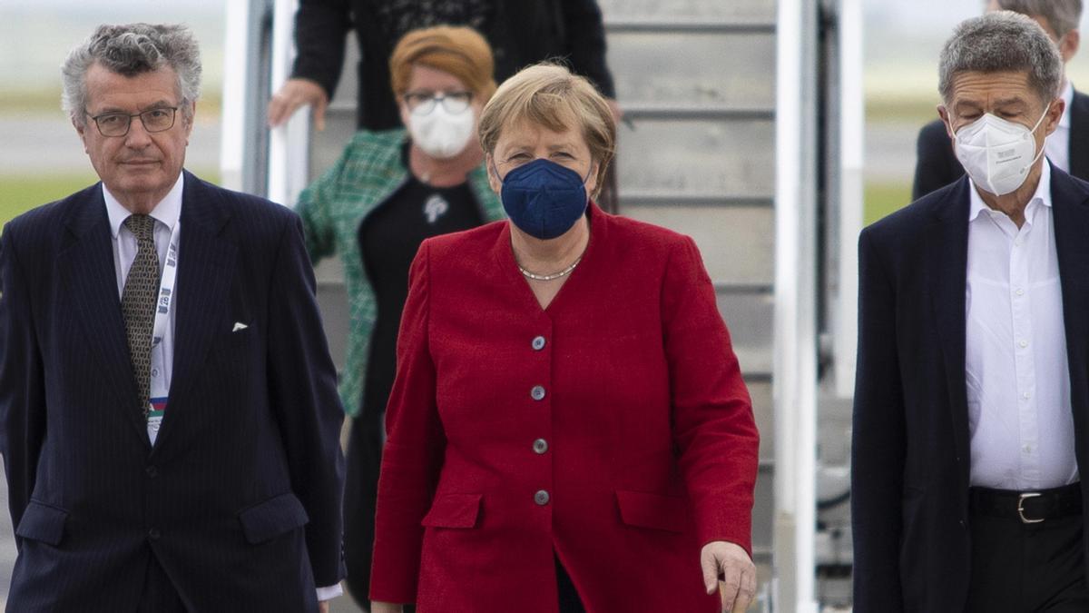 Angela Merkel a su llegada al G7