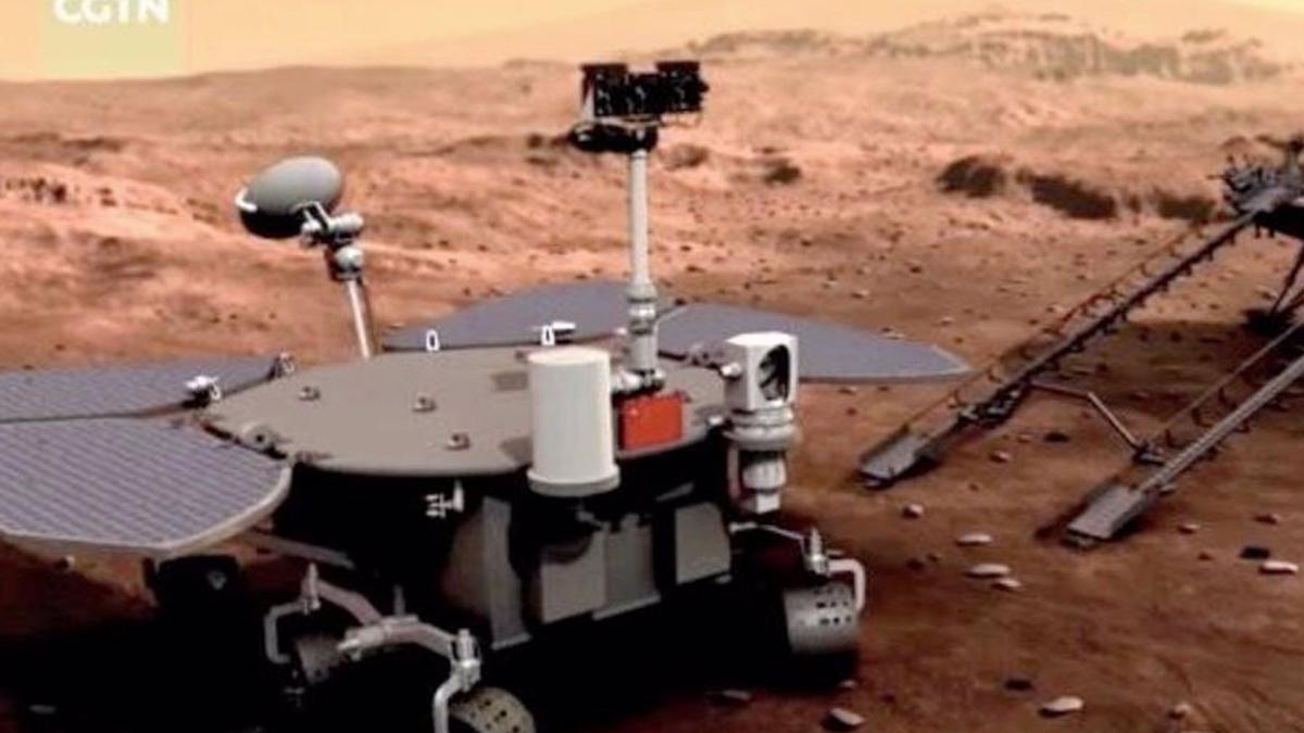 Ilustración artística del rover chino en Marte.