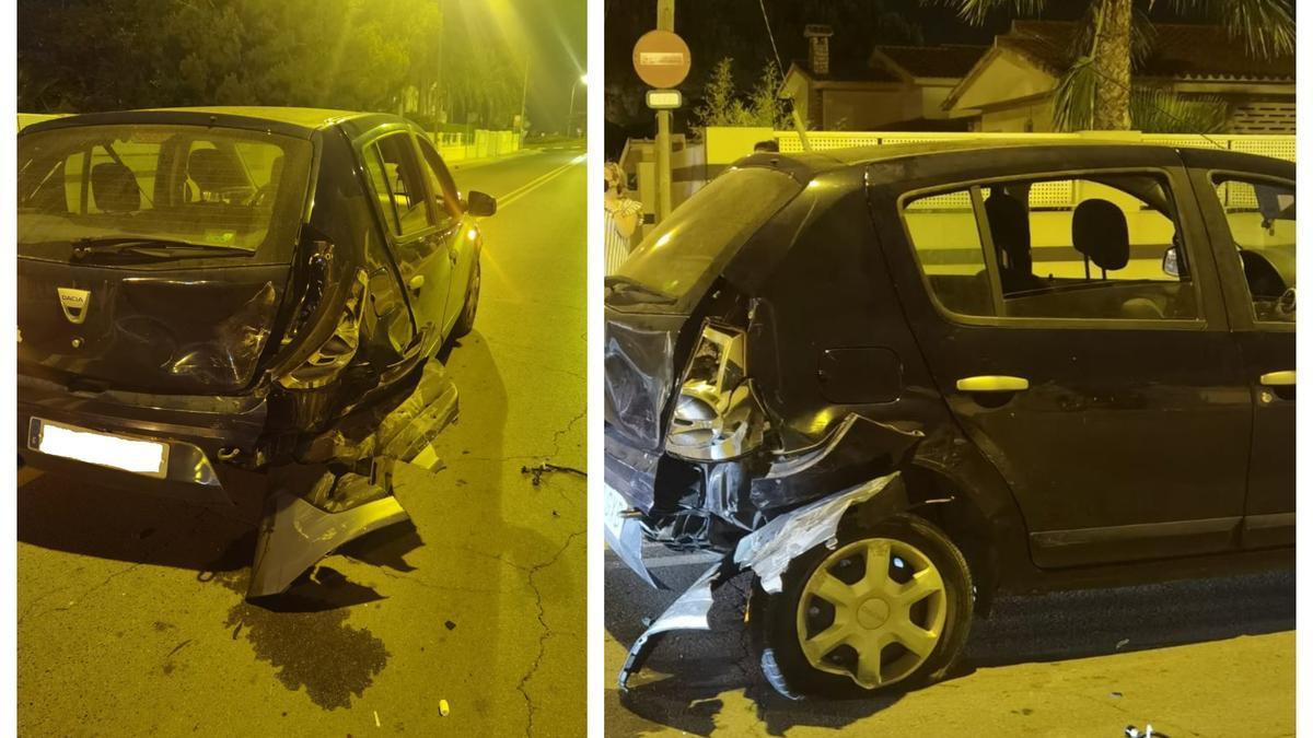 Imagen de cómo quedó el vehículo golpeado por la joven ebria en Benicàssim.