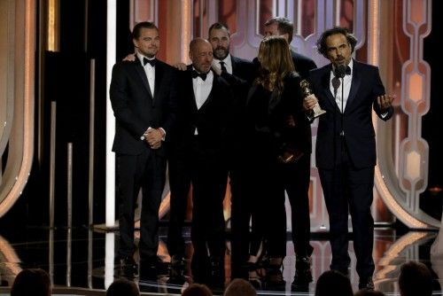 "Inarritu accepts the award after ""The Revenant"" won Best Motion Picture, Drama, at the 73rd Golden Globe Awards in Beverly Hills"