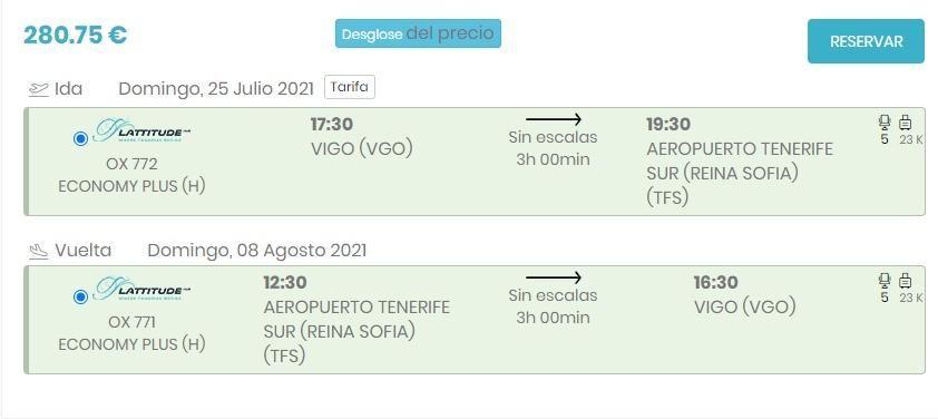 Vuelos a la venta de Lattitude Hub entre Vigo y Tenerife Sur.