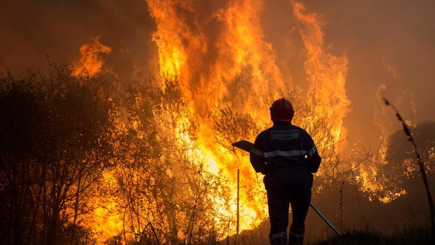 La vía férrea Zamora-Ourense, cortada por un incendio activo en Vilar de Barrio