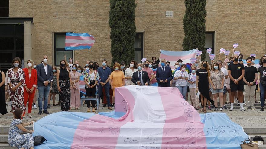 La bandera trans ondea en las Cortes de Aragón
