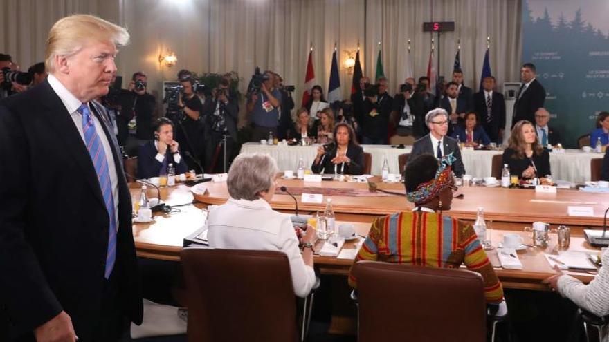 Trump llega tarde al desayuno de trabajo de la cumbre del G-7
