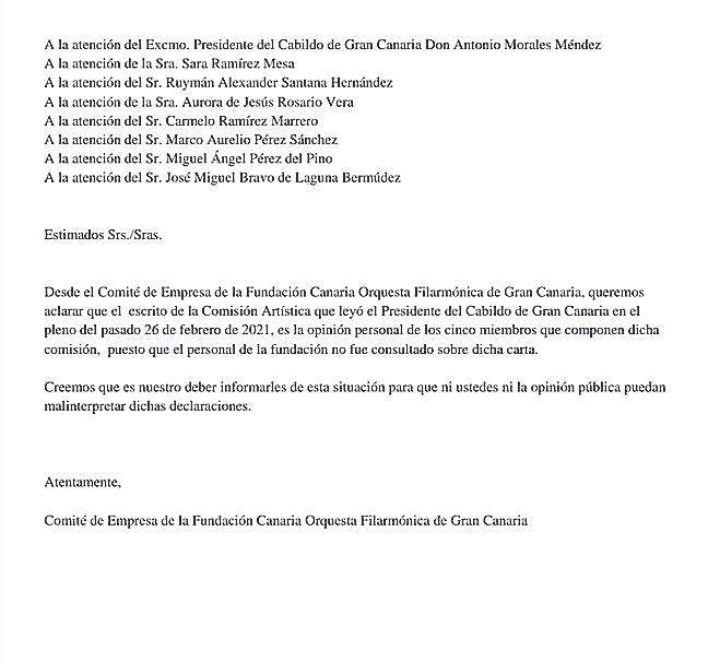 Comunicado remitido ayer por el comité de empresa de la OFGC, en el que se desmarca de la carta de apoyo leída por Morales.