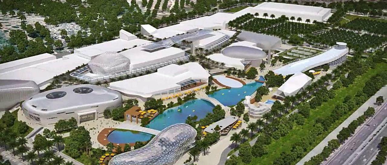 Figuración del centro comercial, en su primera versión.