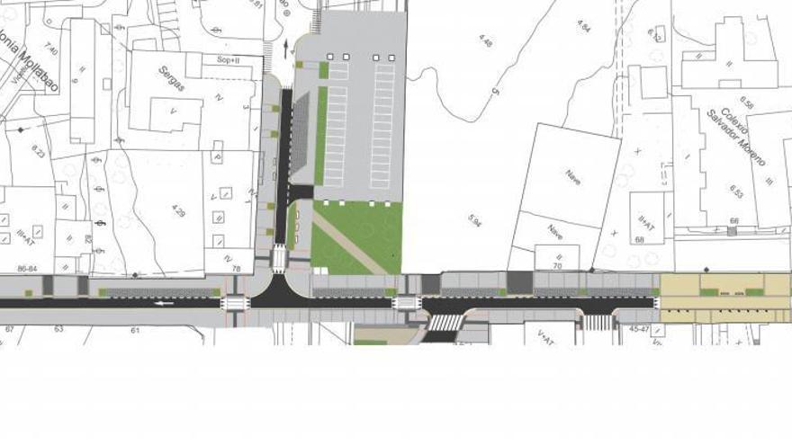 Un único carril de salida, dos plazas y una zona verde transformarán la calle Rosalía de Castro