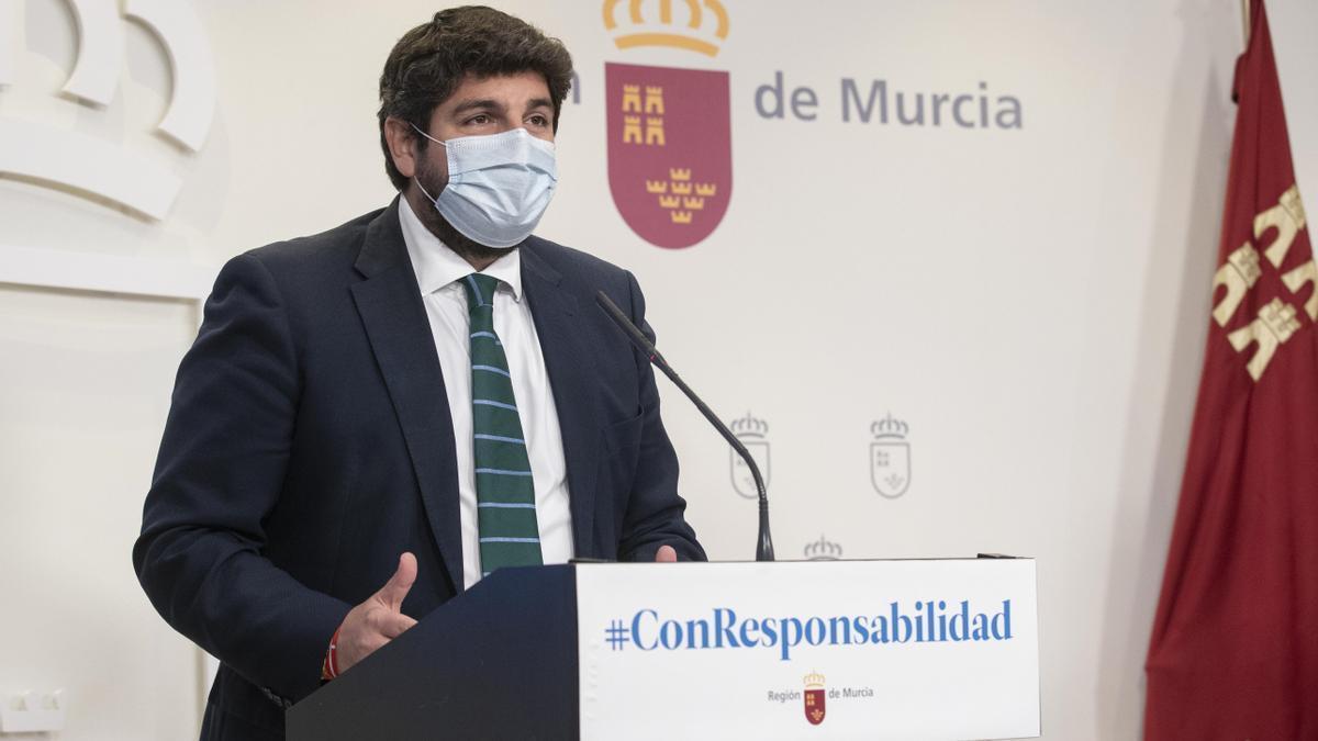 """MURCIA.-López Miras: """"El cambio de sede es un hito en el camino de Casado hacia la presidencia del Gobierno"""""""