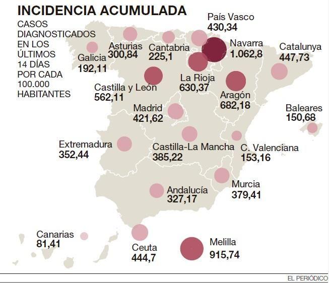 El mapa de la incidencia acumulada en España