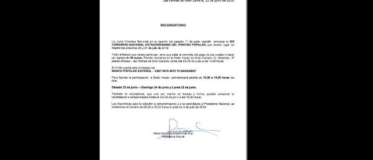 El PP incentiva la participación de los afiliados en las primarias por 20 euros