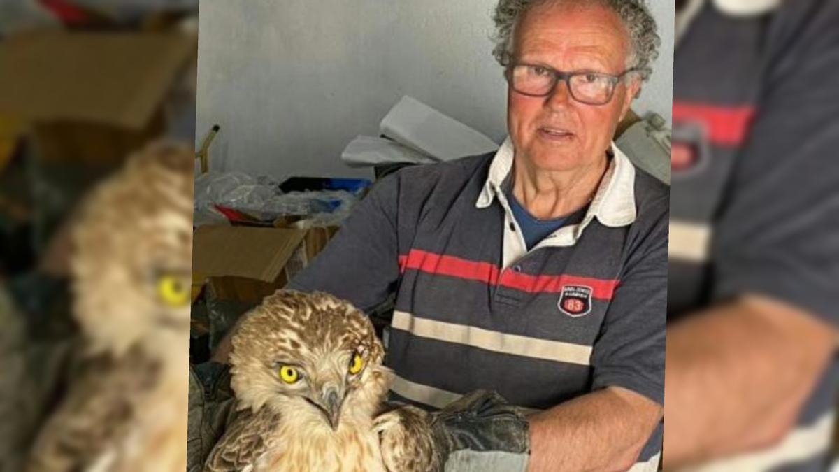Rosendo Albert, junto al ave rapaz que recuperó de una delicada situación.