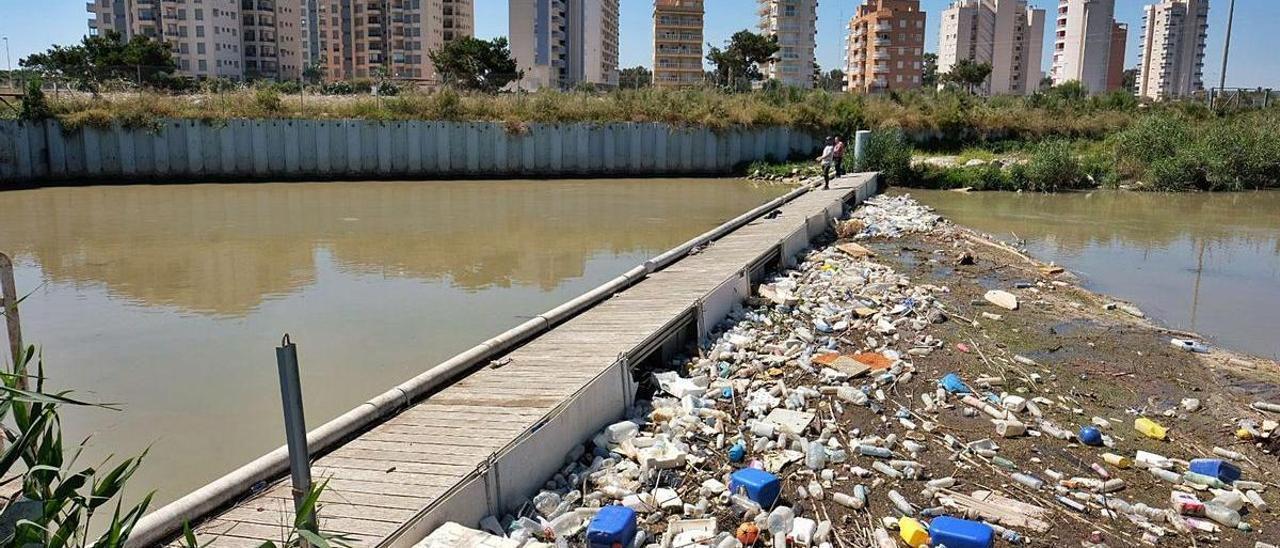Residuos de todo tipo acumulados en la barrera de flotantes de Guardamar, en la desembocadura del Segura.