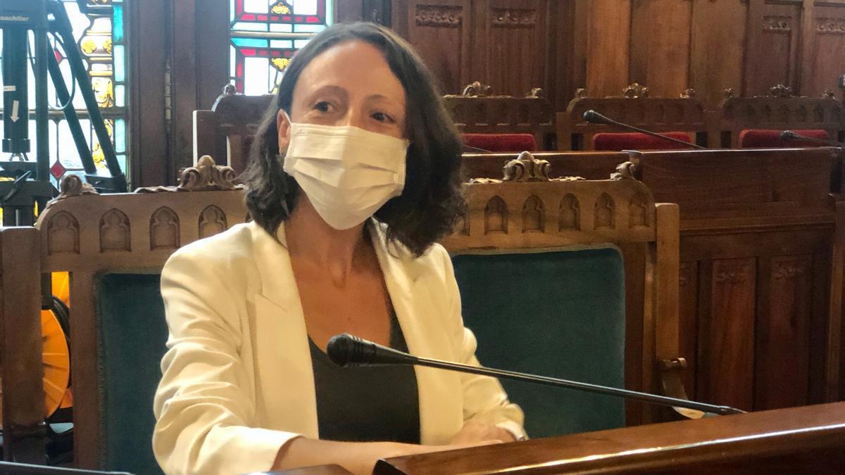 Melania Álvarez, esta mañana en la Junta.