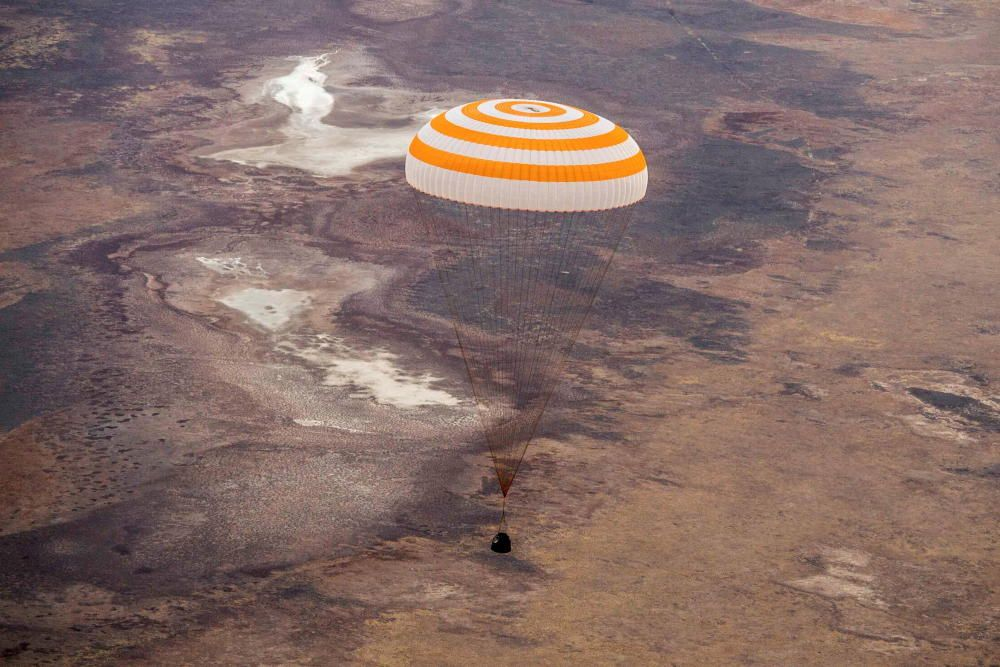 Soyuz MS-16 space capsule lands near Zhezkazgan
