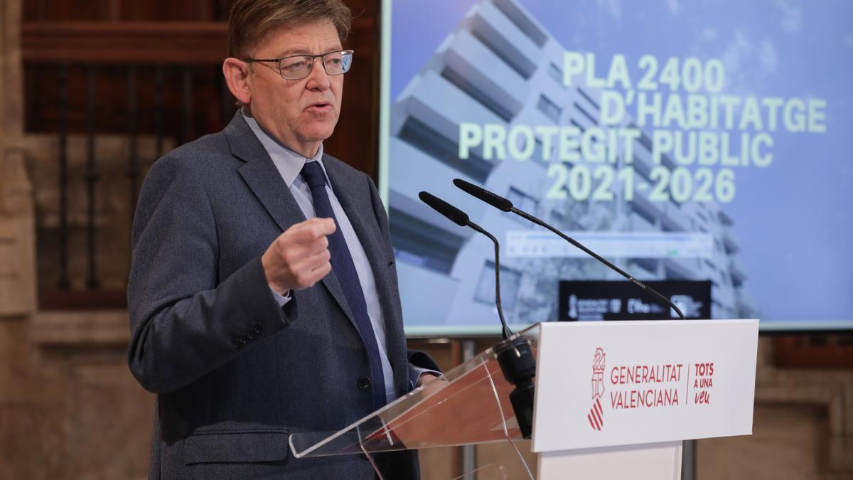 Ximo Puig, durante la presentación del Plan de Vivienda Pública Protegida.