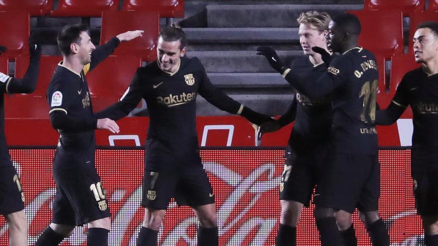 Messi y Griezmann golean al Granada y el Barça toma impulso