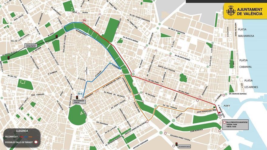 15K nocturna Valencia: horario, cortes de tráfico, circuito y todo lo que debes saber