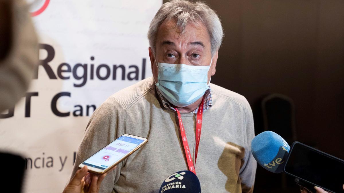 Rafael Espartero, durante la apertura del VIII Congreso Regional de UGT en Canarias.