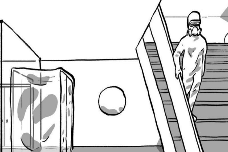 Unha viñeta do seu cómic de ciencia ficción La muerte rosa (2021)