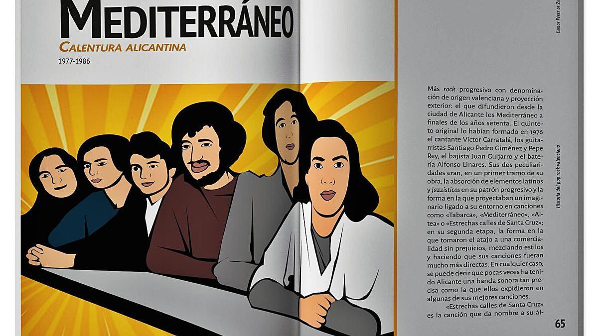 Las páginas dedicadas a  Mediterráneo en el libro.  Abajo, ilustraciones de Nach  y de Betunizer.    SARGANTANA