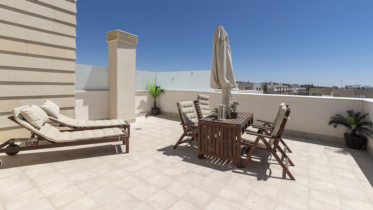 Un terraza de la promoción Azahar de Neinor Homes