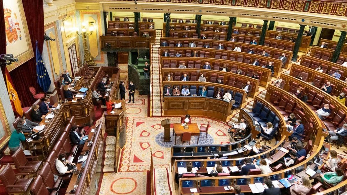 El ple del Congrés dels Diputats, durant el debat de les esmenes a la totalitat dels pressupostos de l'Estat per al 2021