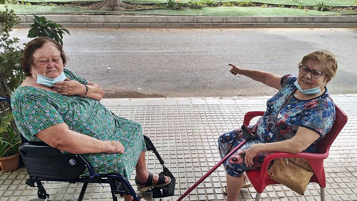 Gregoria Salazar, a la izquierda, y Francisca Fuentes, en el Camino de Guadalmar a la Loma, con la mediana al fondo, que en varios lugares está levantada por las raíces de los ficus y salen ratas.