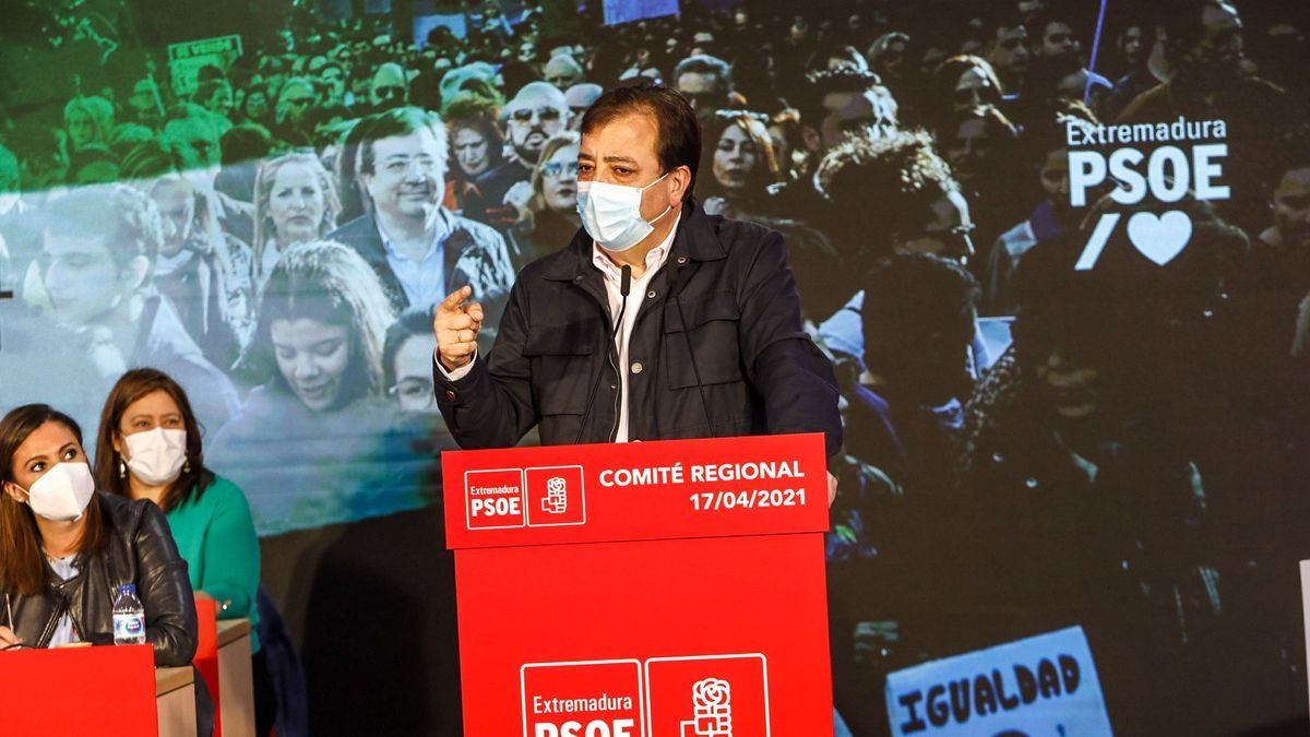 Guillermo Fernández Vara esta mañana en el comité regional del PSOE.