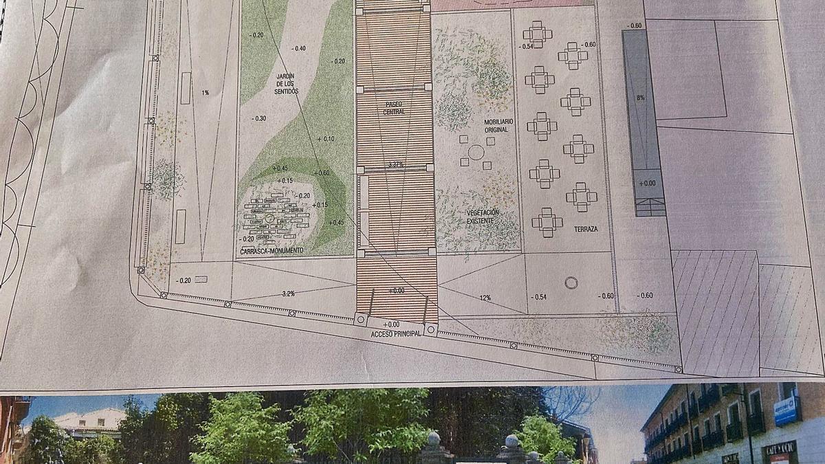 Plano y aspecto exterior que presentará el futuro parque dentro del casco urbano de Borja.   SERVICIO ESPECIAL