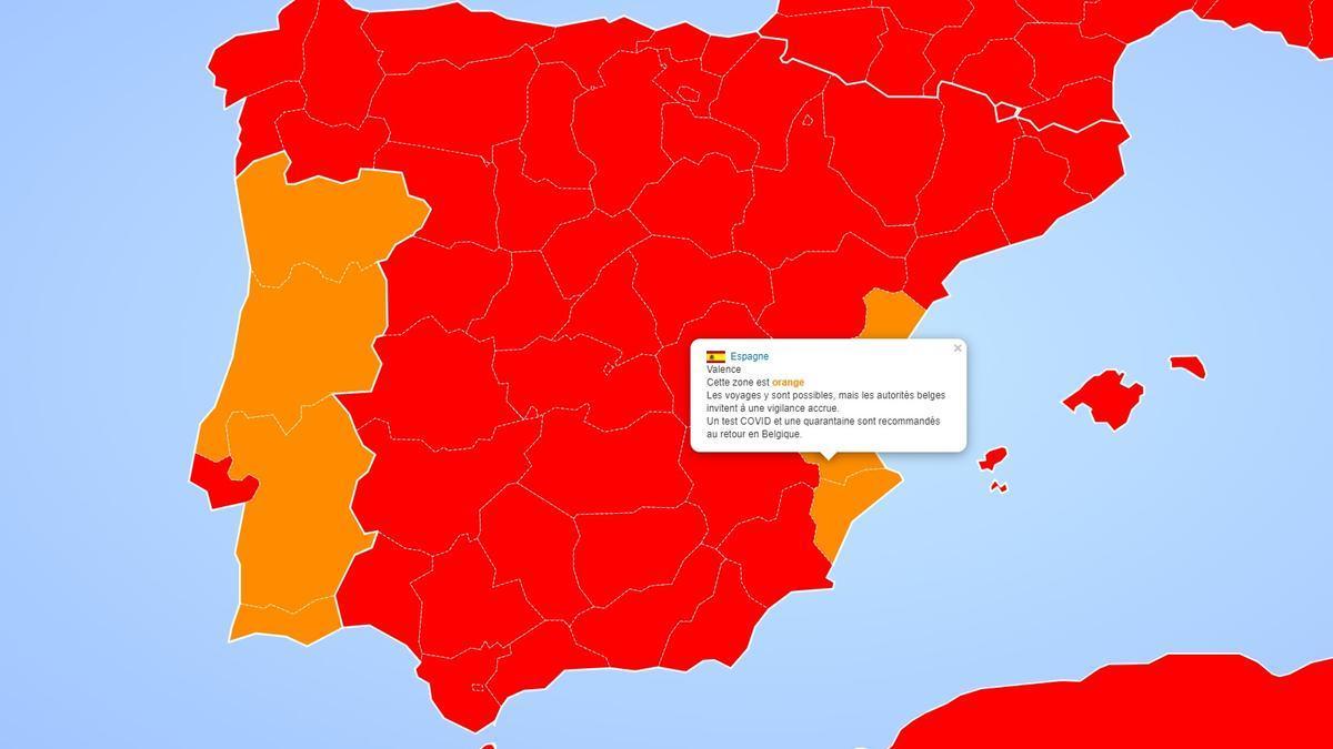 Mapa de colores utilizado por el Ministerio de Asuntos Exteriores de Bélgica.