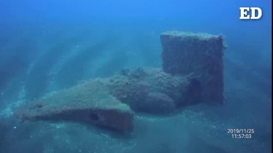 Solo queda en pie uno de los siete enanos de La Palma en el fondo del mar