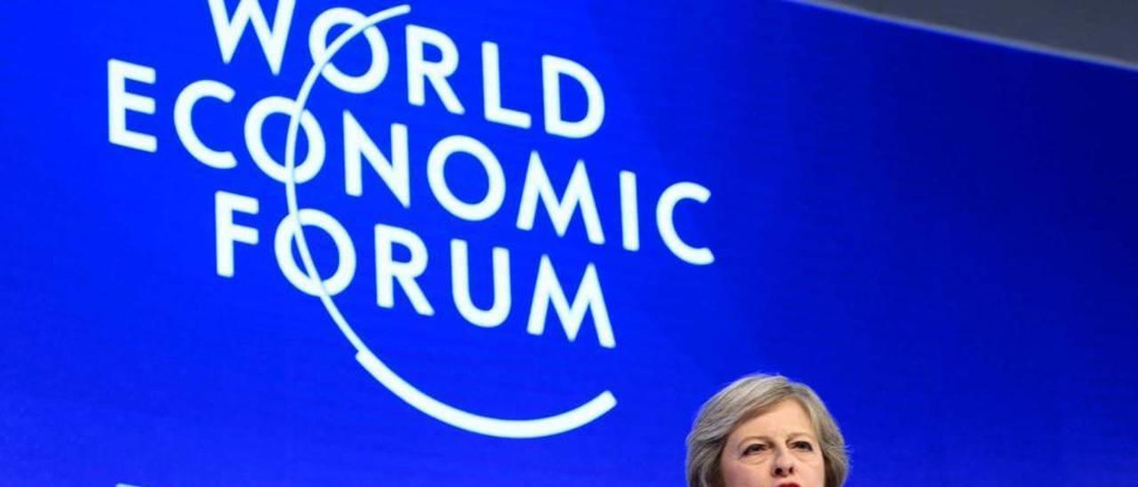 May, en su primera intervención ante el World Economic Forum.