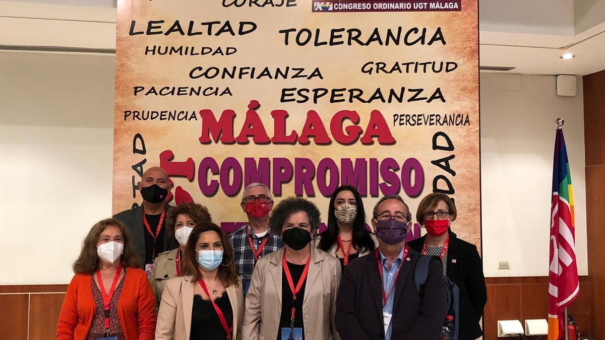 Soledad Ruiz, con la nueva ejecutiva de UGT Málaga.