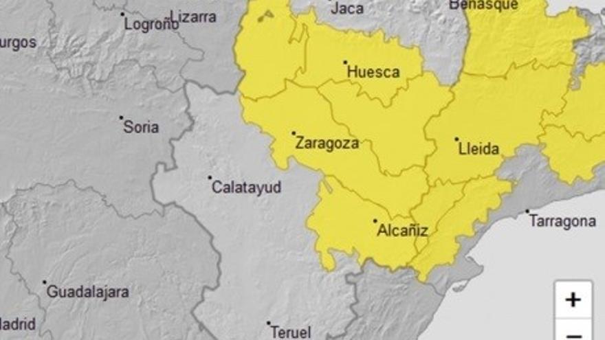 Aviso amarillo por temperaturas máximas y tormentas en varias zonas de Aragón