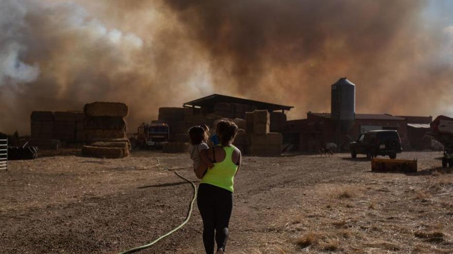 Imágenes del incendio originado en Lober de Aliste, Zamora