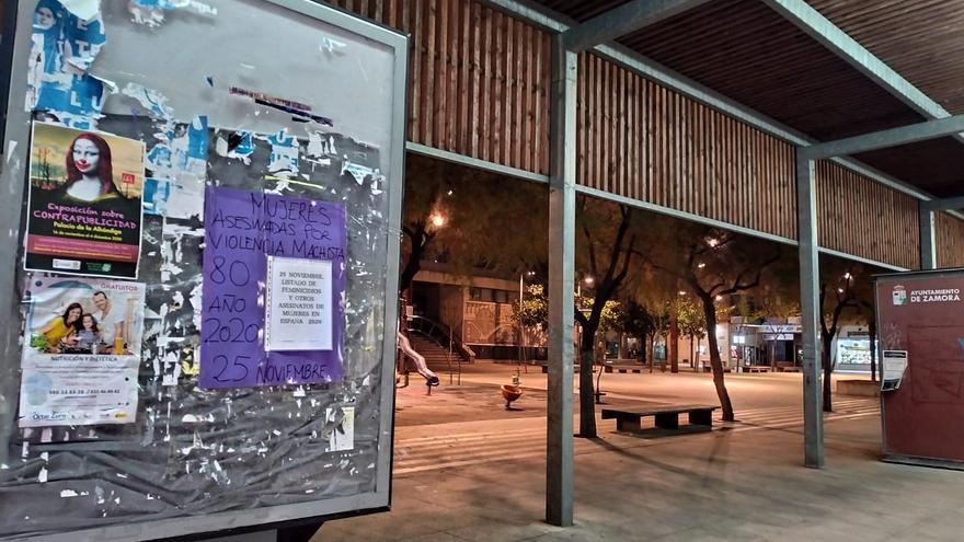 Trece Rosas Zamora reivindica el fin de la violencia machista y empapela la ciudad con los feminicidios de 2020