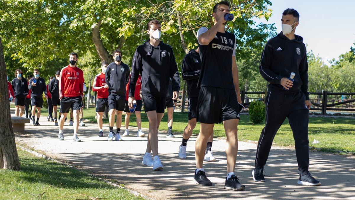 Jugadores del Burgos pasean por un parque de Don Benito.