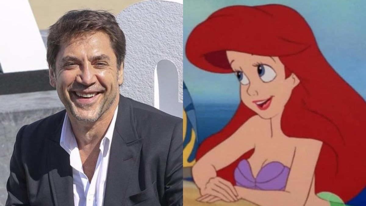 Javier Bardem y el personaje Disney de La Sirenita.