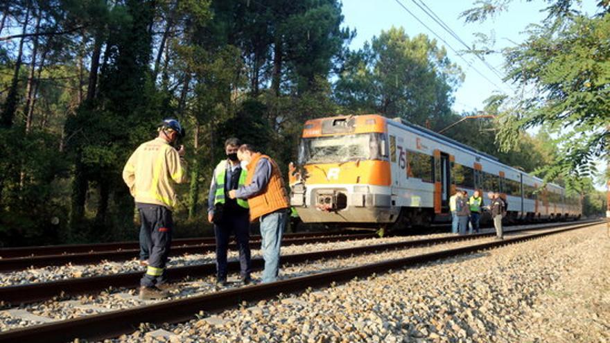 Circulació per una única via entre Caldes de Malavella i Maçanet arran de la topada d'un tren amb un arbre caigut