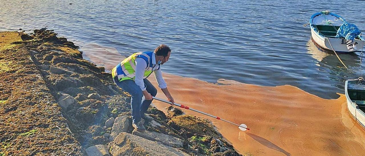 Un técnico de Medio Ambiente recoge una muestra de la mancha del pasado martes en Chapela. |   // C.M.A.