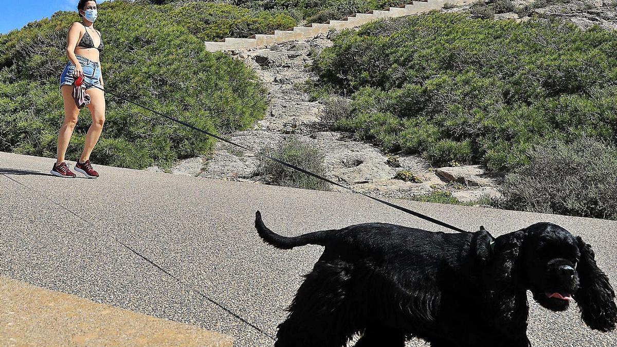 Una joven saca a pasear a su perro en las inmediaciones del faro de Cabo de Palos.   JUAN CABALLERO