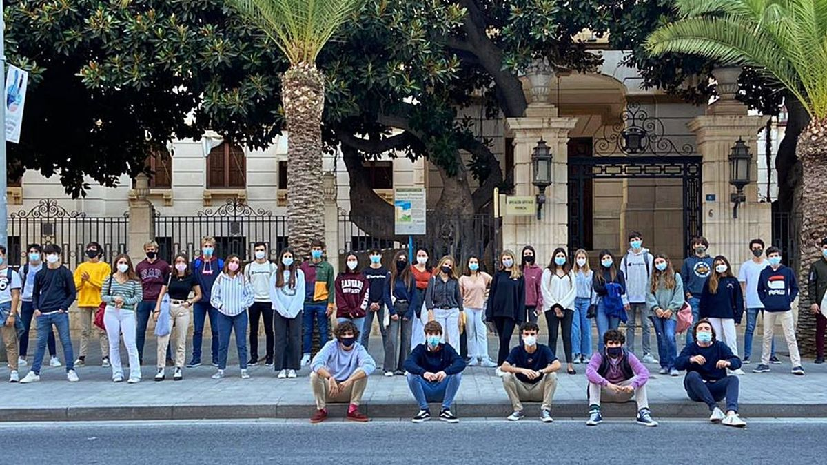 Family photo in front of the palace of the Provincial Council of the young people who participated in one of the last volunteer actions.  There are people from Alicante and from Elche.  |  INFORMATION