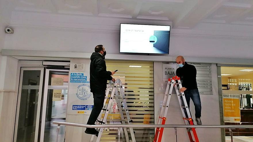 Un panel informático en el vestíbulo de los juzgados de Zamora informará de su actividad