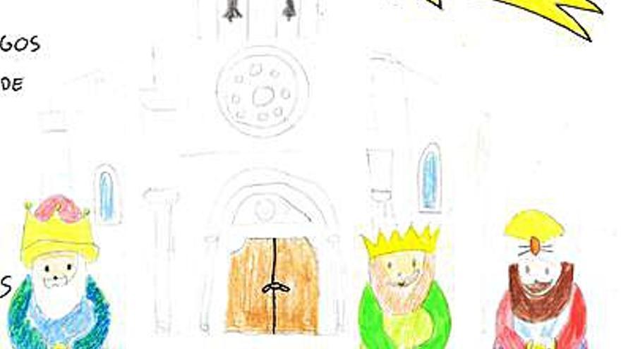 El dibujo de una alumna de 10 años, cartel de los Reyes Magos este año en Cambre