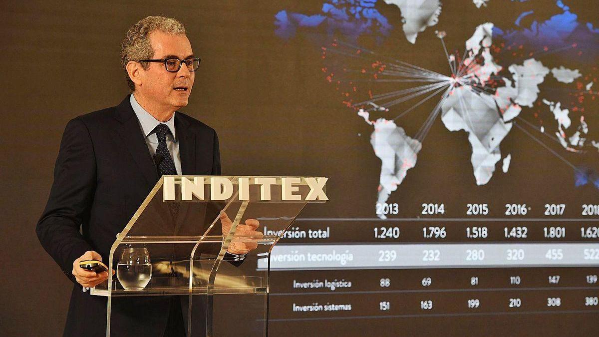 El presidente de Inditex, Pablo Isla, en una presentación de resultados anterior.