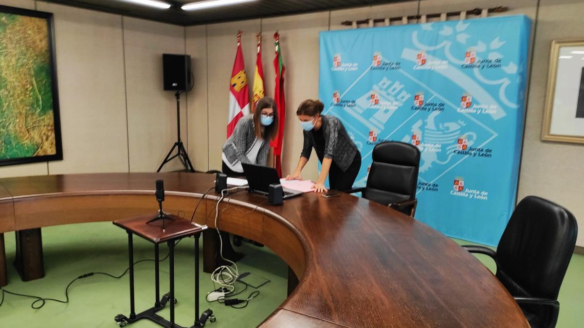 Clara San Damián y la jefa del Servicio Territorial de Agricultura, Rosa María Alonso, se conectan telemáticamente al Consejo Agrario Provincial.