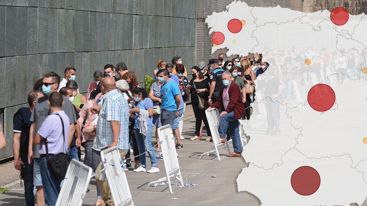 Colas para la vacunación, ayer, en el recinto ferial de Pontevedra