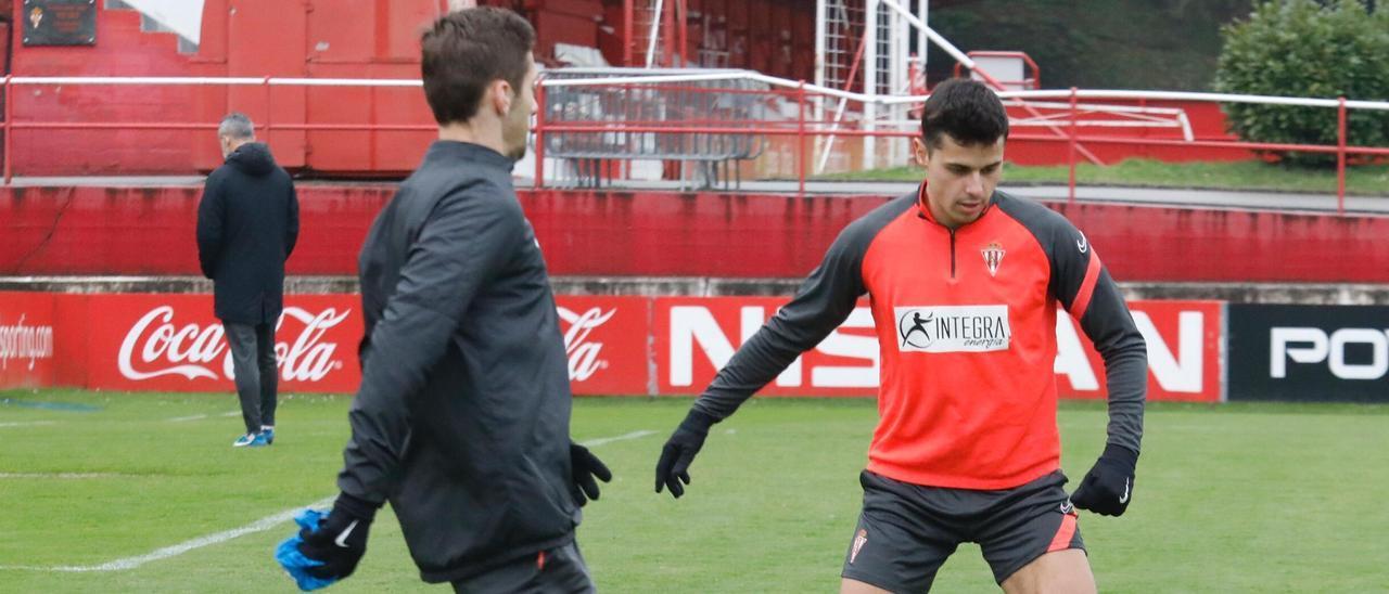 Gaspar y Gragera en un entrenamiento del Sporting