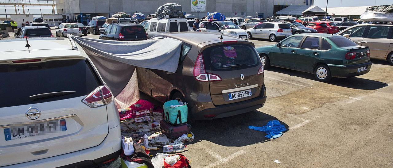 Vehículos aguardan en julio de 2019 para partir desde el puerto de Alicante con destino a Orán. |