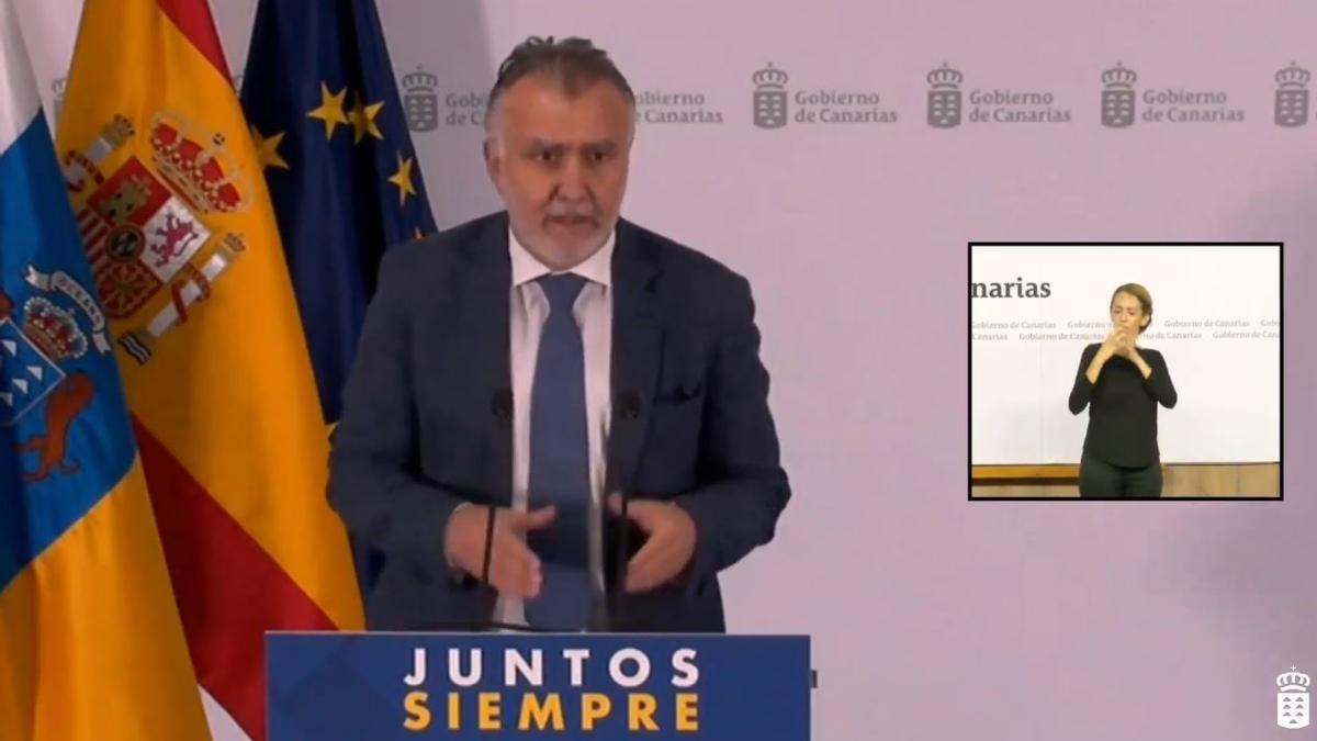 Ángel Víctor Torres en rueda de prensa tras el Consejo de Gobierno extraordinario por la situación sanitaria en Tenerife